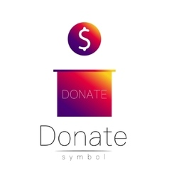Donation sign icon donate money box charity or vector