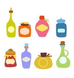 Doodle jars and bottles set vector