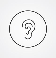 Ear outline symbol dark on white background logo vector