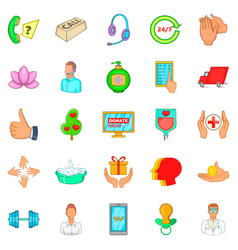 fend icons set cartoon style vector image vector image