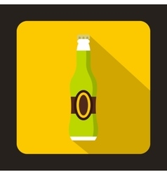 Full green beer bottle icon flat style vector image vector image