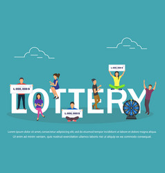 Lottery concept set with winning combinations flat vector