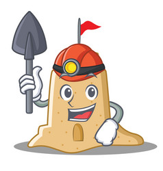 Miner sandcastle character cartoon style vector