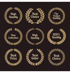 Premium quality laurel wreaths in retro style vector image vector image