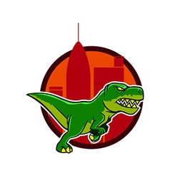Running Dino And Big City Background vector image