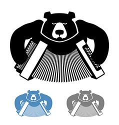 Russian bear with accordion icon flat style wild vector