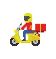 Scooter motorbike fast delivery in pixel art game vector