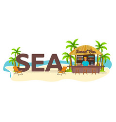 sea travel palm drink summer lounge chair vector image