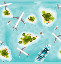Seamless pattern with islands and planes top view vector