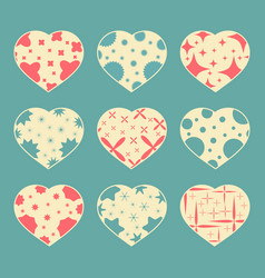 set of color hearts isolated on blue green vector image vector image