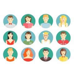 Set of diverse people avatar icons vector image vector image