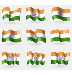 Set of india flags in the air vector