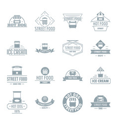 Street food logo icons set simple style vector