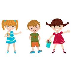 Three happy kids vector