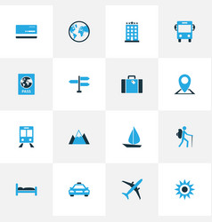 Traveling colorful icons set collection of hotel vector