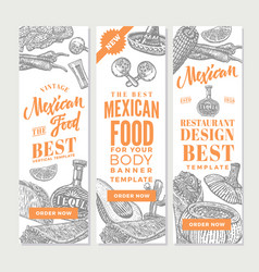Vintage mexican food vertical banners vector
