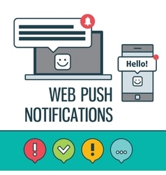 Web push notifications for your website with vector image