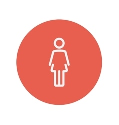 Woman standing thin line icon vector image