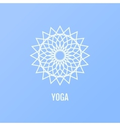 yoga icons and round line badges in the vector image