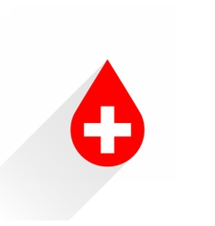 Donate drop blood red sign with white cross vector