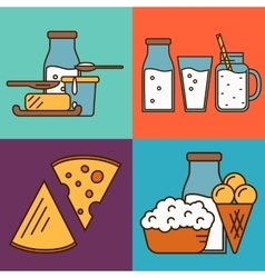 Assortment of dairy products square composition vector