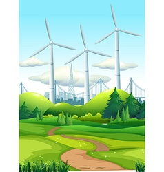 Scene with wind towers in the park vector