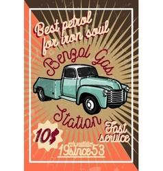 Color vintage gas station poster vector