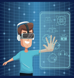Virtual reality wearing goggle 360 degree vision vector