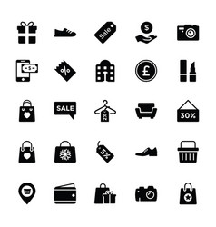 shopping and commerce glyph icons 2 vector image