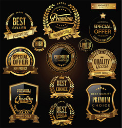 Luxury badges and labels with laurel wreath vector