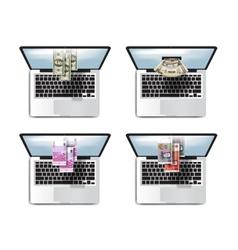 Business money online profits laptop icon set vector