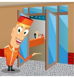 Funny bellhop invites you to come vector