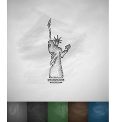 Statue of liberty icon hand drawn vector