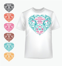 T-shirt with abstract heart vector