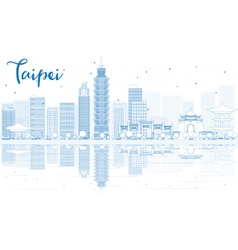Outline taipei skyline with blue buildings vector