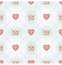 Seamless background with crown and hearts vector image