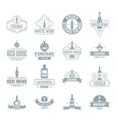 Alcohol logo icons set simple style vector