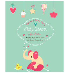 Baby shower cute invitation and with elephant and vector