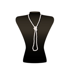 Black jewelry bust with a necklace on white vector