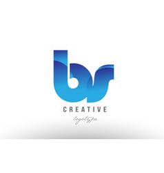 blue gradient bs b s alphabet letter logo vector image vector image