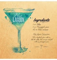 Blue Lagoon cocktails watercolor kraft vector image vector image