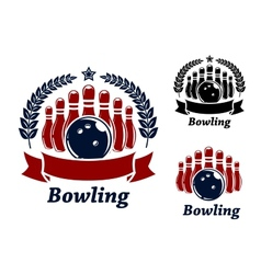 Bowling emblems with ball and ninepins vector image vector image