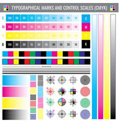 Calibration printing crop marks cmyk color test vector