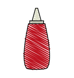 Color crayon stripe cartoon red jar with tomato vector