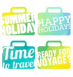 color suitcase logo travel logo set vector image vector image
