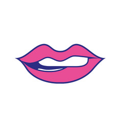 Colorful mouth with lipstick and bite inferior lip vector