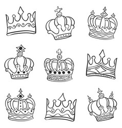 crown various style doodle set vector image vector image