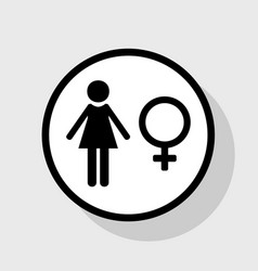 Female sign flat black icon vector
