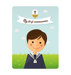 First communion child foreground invitation with vector