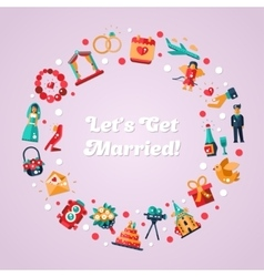 Flat design wedding and marriage proposal circle vector